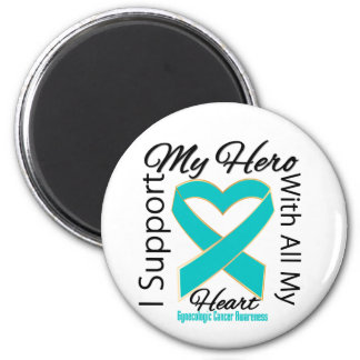 I Support My Hero - Gynecologic Cancer Awareness 2 Inch Round Magnet