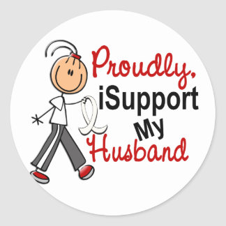 I Support My Husband SFT (Bone / Lung Cancer) Round Stickers