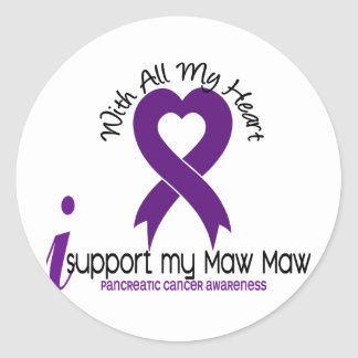 I Support My Maw Maw Pancreatic Cancer Round Sticker