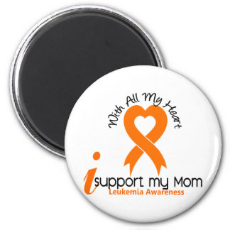 I Support My Mom Leukemia 2 Inch Round Magnet
