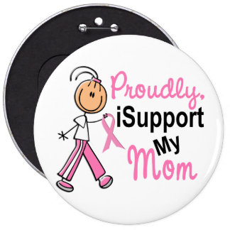 I Support My Mom SFT Breast Cancer T-Shirts & Gift Button