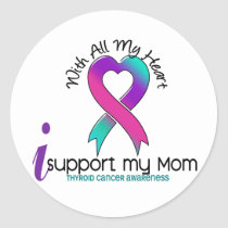 I Support My Mom Thyroid Cancer Classic Round Sticker