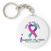 I Support My Mom Thyroid Cancer Keychain
