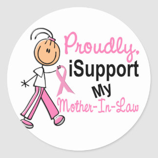 I Support My Mother-In-Law SFT Breast Cancer T-Shi Round Stickers