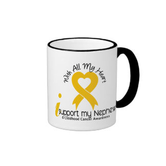 I Support My Nephew Childhood Cancer Coffee Mugs