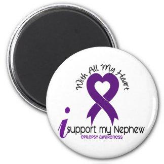I Support My Nephew Epilepsy 2 Inch Round Magnet