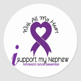 I Support My Nephew Pancreatic Cancer Round Sticker