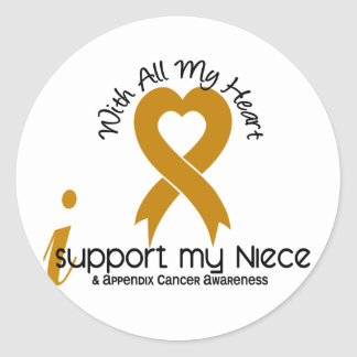 I Support My Niece Appendix Cancer Classic Round Sticker