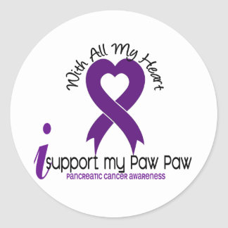I Support My Paw Paw Pancreatic Cancer Round Stickers