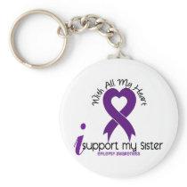 I Support My Sister Epilepsy Keychain