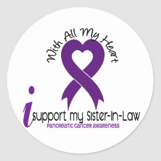 I Support My Sister-In-Law Pancreatic Cancer Round Stickers