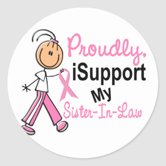 I Support My Sister-In-Law SFT Breast Cancer T-Shi Round Sticker