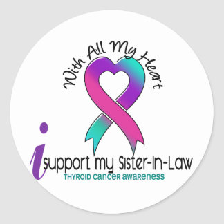 I Support My Sister-In-Law Thyroid Cancer Classic Round Sticker