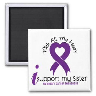 I Support My Sister Pancreatic Cancer 2 Inch Square Magnet