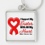 I Support My Sister With All My Heart Silver-Colored Square Keychain