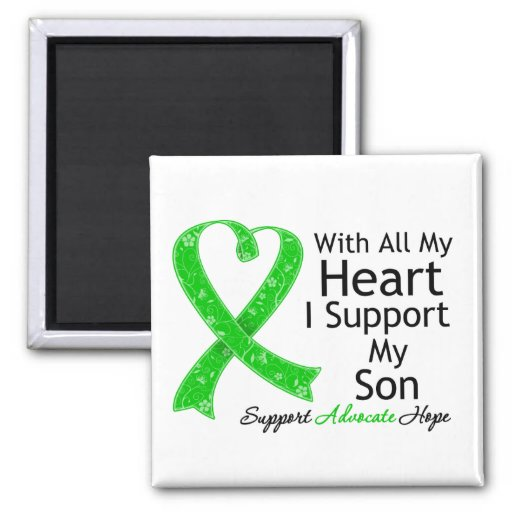 I Support My Son All My Heart 2 Inch Square Magnet