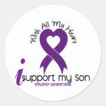 I Support My Son Epilepsy Classic Round Sticker