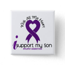 I Support My Son Epilepsy Pinback Button