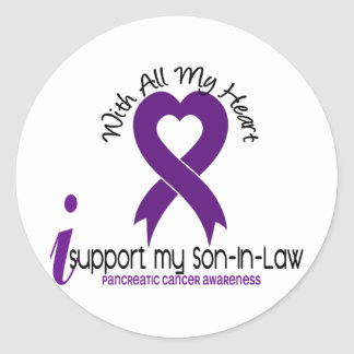 I Support My Son-In-Law Pancreatic Cancer Round Sticker