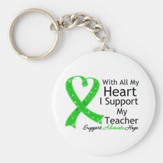 I Support My Teacher With All My Heart Basic Round Button Keychain