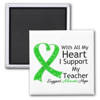 I Support My Teacher With All My Heart 2 Inch Square Magnet