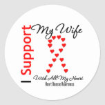 I Support My Wife - Heart Disease Round Stickers