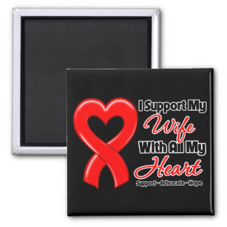 I Support My Wife With All My Heart 2 Inch Square Magnet