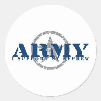 I Support Nephew - ARMY Classic Round Sticker