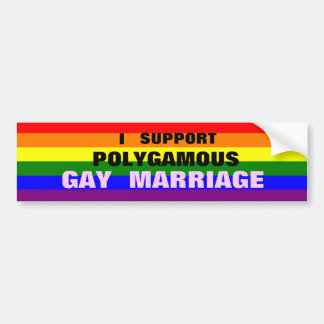 I SUPPORT POLYGAMOUS GAY MARRIAGE bumper sticker
