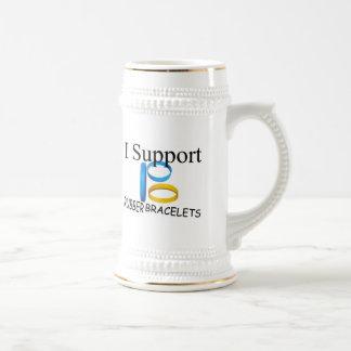 I Support Rubber Bracelets 18 Oz Beer Stein