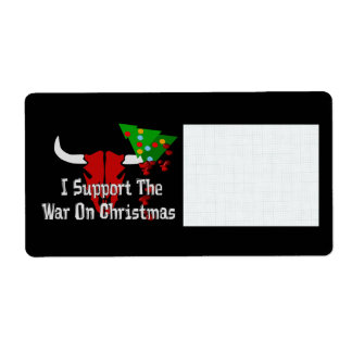 I Support War On Christmas Personalized Shipping Label