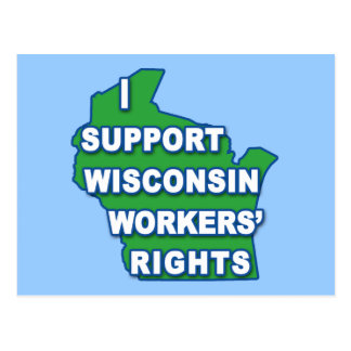 I SUPPORT WISCONSIN Workers Rights Postcard