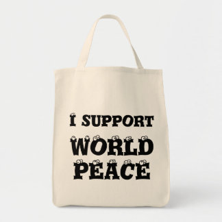 I SUPPORT WORLD PEACE Grocery Bag, Inspirational Grocery Tote Bag
