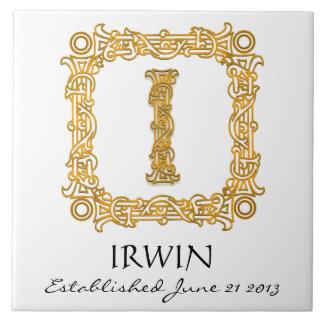 """I"" Surname Wedding Anniversary Day Monogram Tile"