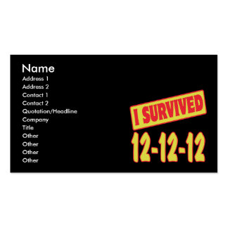 I SURVIVED 12-12-12 BUSINESS CARD