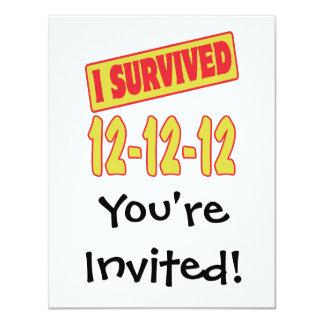 I SURVIVED 12-12-12 4.25X5.5 PAPER INVITATION CARD