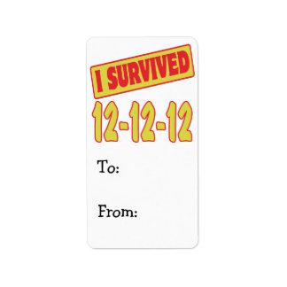 I SURVIVED 12-12-12 LABEL