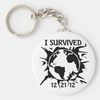 """""""I Survived 12-21-12"""" End of the World Basic Round Button Keychain"""