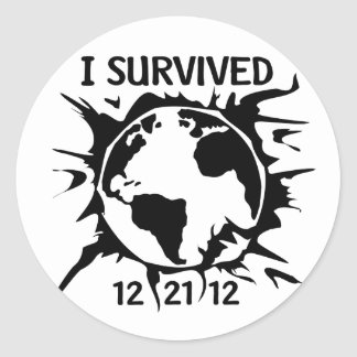 """""""I Survived 12-21-12"""" End of the World Round Stickers"""