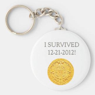 """""""I Survived 12-21-2012"""" Basic Round Button Keychain"""