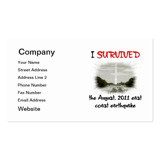 I Survived 2011 East Coast Earthquake Double-Sided Standard Business Cards (Pack Of 100)