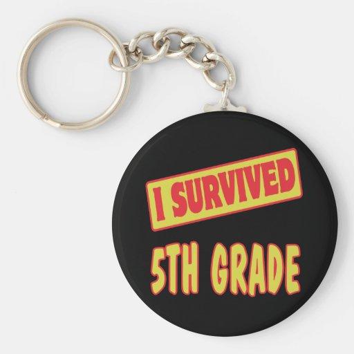 I SURVIVED 5TH GRADE BASIC ROUND BUTTON KEYCHAIN
