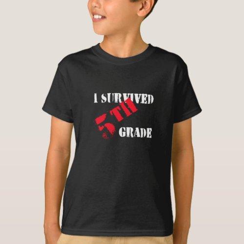 I Survived 5th Grade Boys Dark Tee