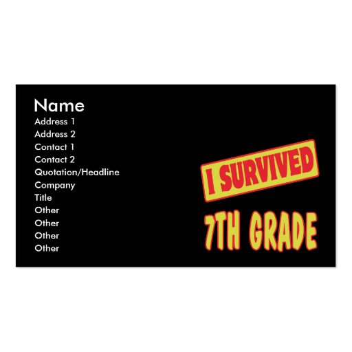 I SURVIVED 7TH GRADE Double-Sided STANDARD BUSINESS CARDS (Pack OF 100)