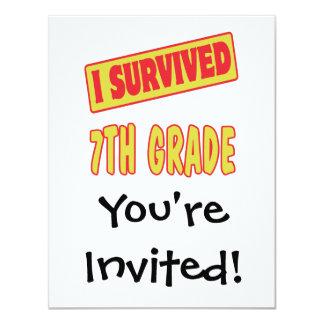 I SURVIVED 7TH GRADE 4.25X5.5 PAPER INVITATION CARD