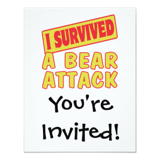 I SURVIVED A BEAR ATTACK 4.25X5.5 PAPER INVITATION CARD