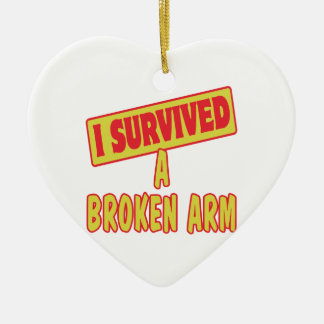 I SURVIVED A BROKEN ARM Double-Sided HEART CERAMIC CHRISTMAS ORNAMENT