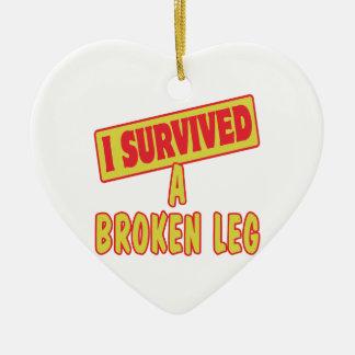 I SURVIVED A BROKEN LEG CERAMIC ORNAMENT