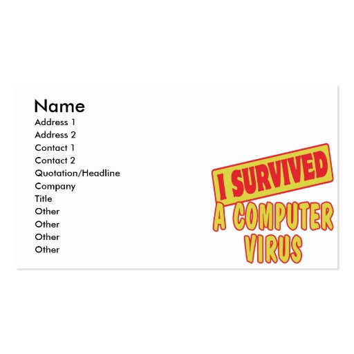 I SURVIVED A COMPUTER VIRUS BUSINESS CARDS
