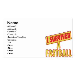 I SURVIVED A FASTBALL Double-Sided STANDARD BUSINESS CARDS (Pack OF 100)